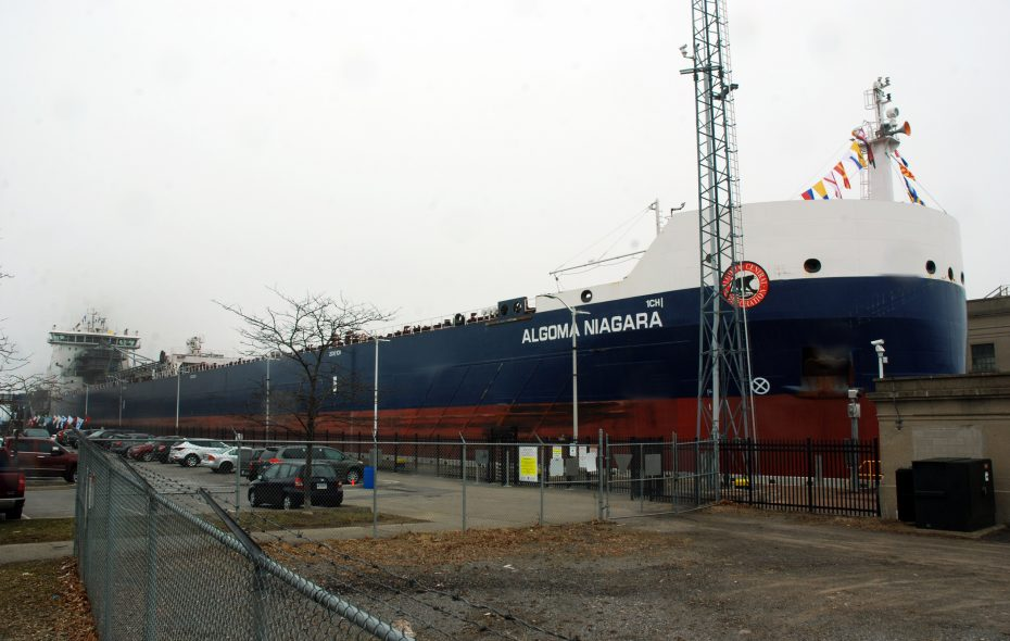 "The Algoma Niagara gets the ""top hat"" treatment on the Welland Canal. (Photo courtesy of the St. Lawrence Seaway Management Corp.)"