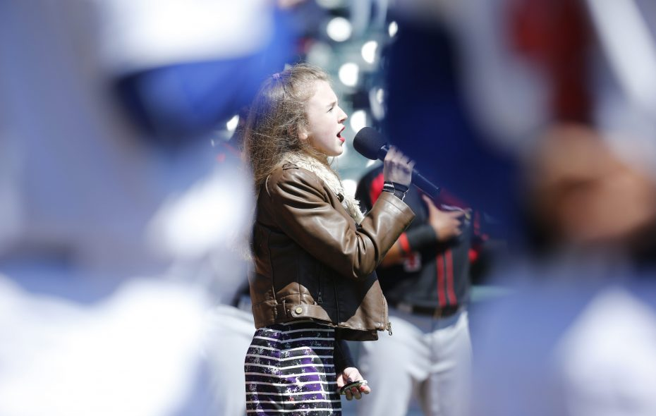 Eden's Jessica Hall, then 13, sings the national anthem prior to a 2016 Buffalo Bisons game at Coca-Cola Field. (Harry Scull Jr./Buffalo News file photo)