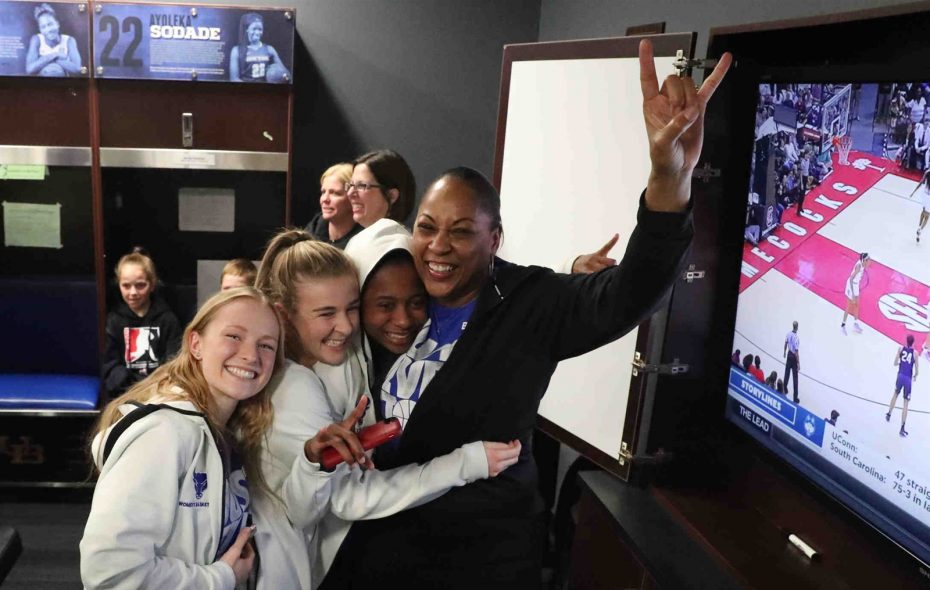 """""""They want to show young people, particularly young women, that it doesn't matter how big or tall you are or wherever you are in the world, if you think that you can be great at something put your heart to it,"""" coach Felisha Legette-Jack said. (James P. McCoy/Buffalo News)"""