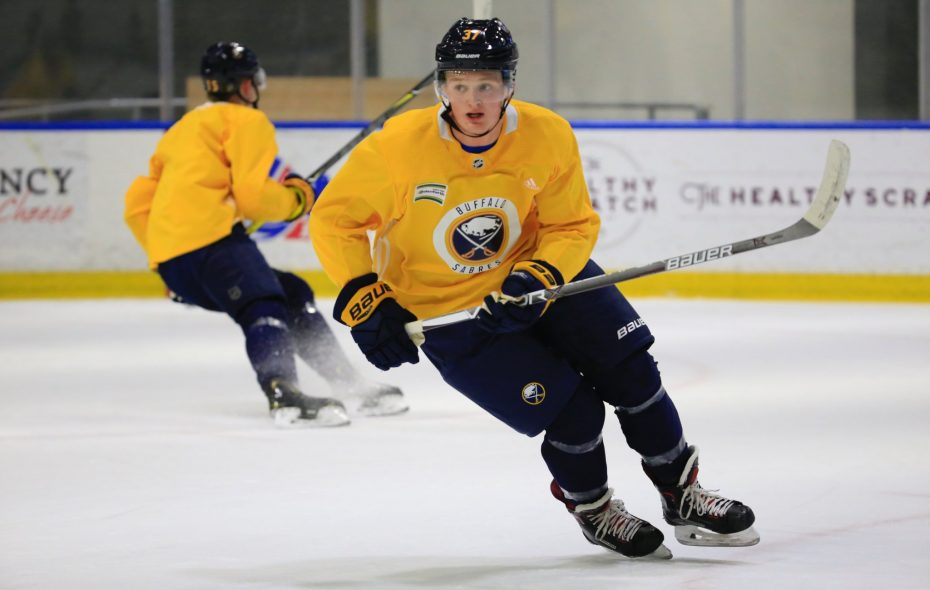 Casey Mittelstadt had his first practice as a member of the Buffalo Sabres Wednesday in HarborCenter. (Harry Scull Jr./Buffalo News)