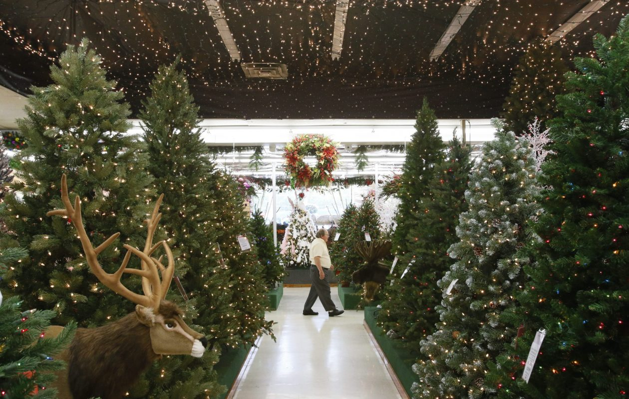 Christmas trees twinkle on display at Dave's Christmas Wonderland and Market on Union Road in Cheektowaga.  {Photo by Derek Gee/ Buffalo News}