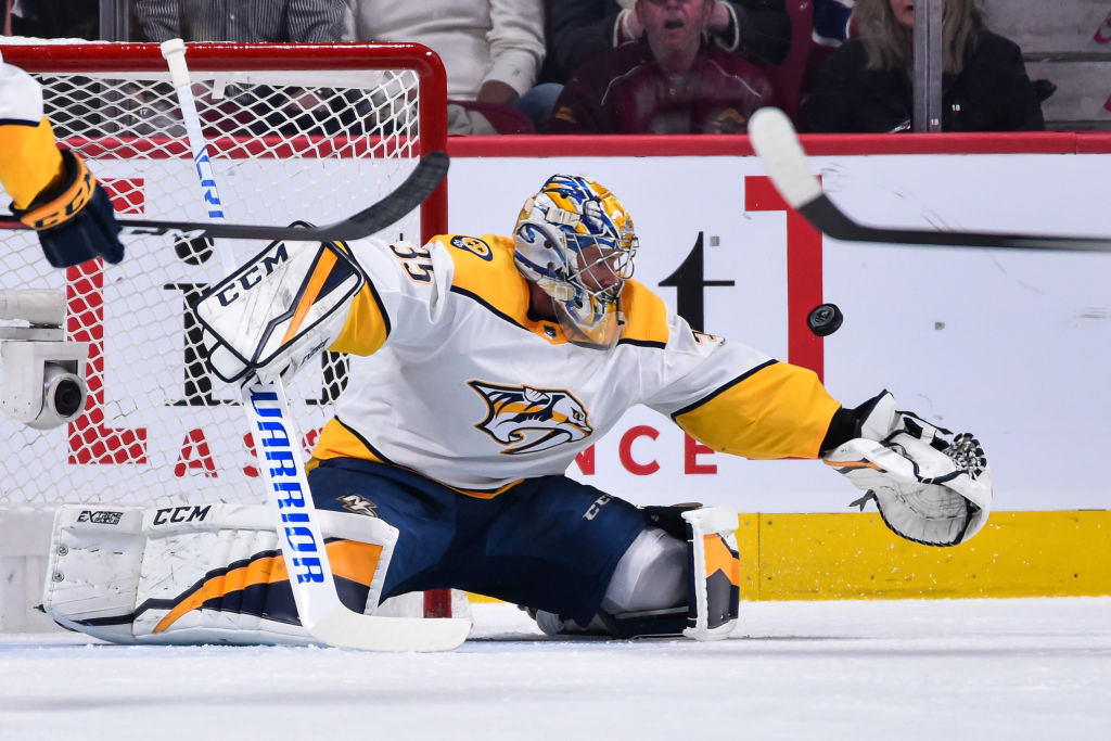 Nashville goalie Pekka Rinne can tie Tampa Bay's Andrei Vasilevskiy for the NHL lead if he earns his 40th victory of the season tonight against the Sabres (Getty Images).