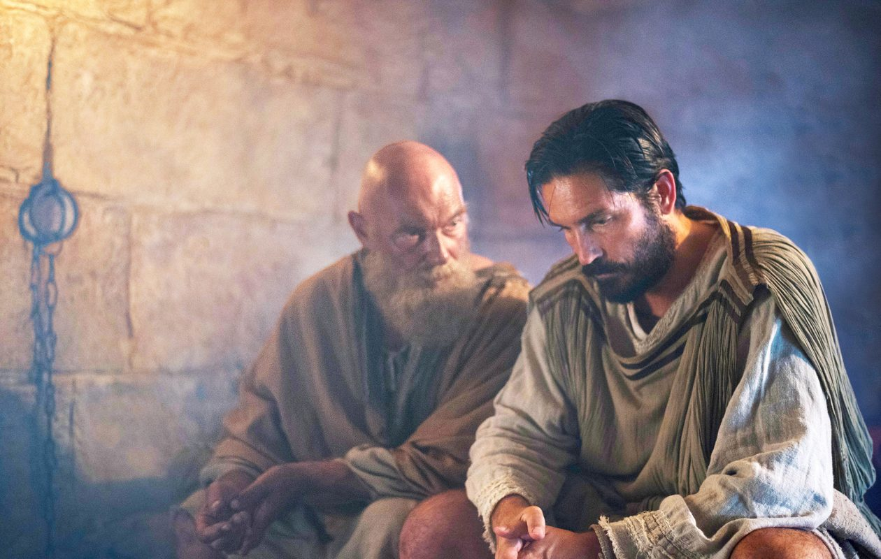 James Faulkner, left, and Jim Caviezel in 'Paul, Apostle of Christ.' ( Mark Cassar, Columbia Pictures)