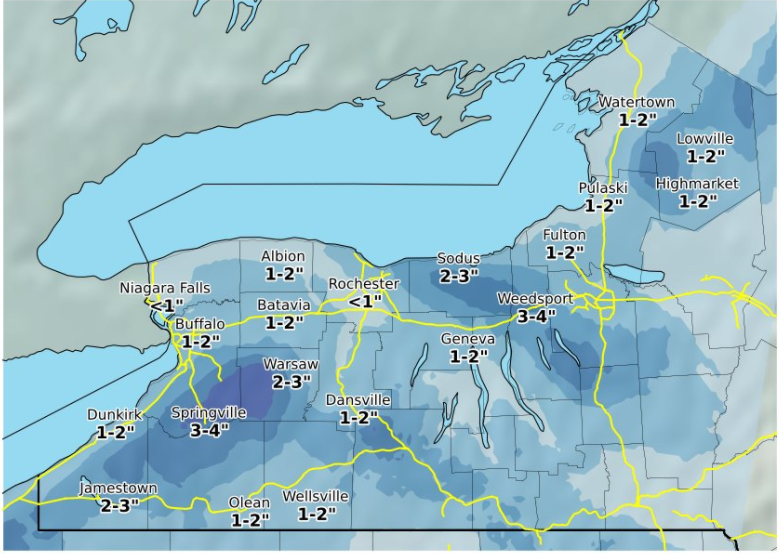 National Weather Service forecasts a little more snow for Buffalo metro area, a little more further south today through Friday. (National Weather Service graphic)