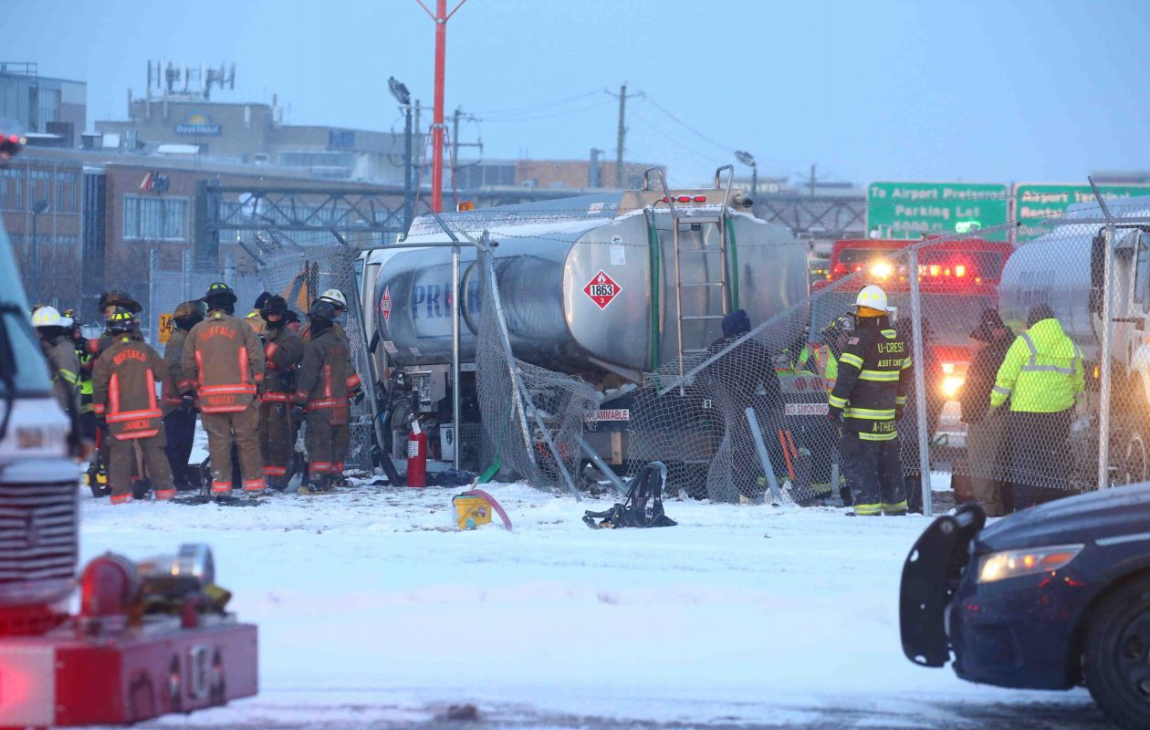 A fuel tanker crashed  at the Buffalo Niagara International Airport, spilling fuel Friday morning. (John Hickey/Buffalo News)