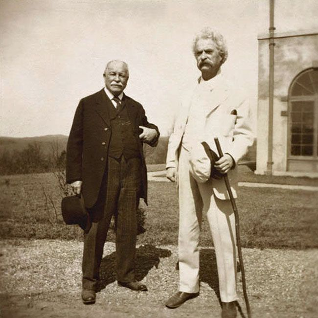 William Dean Howells, left, and his closest literary friend, Mark Twain