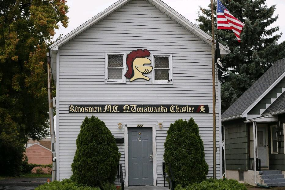 The  Kingsmen knight's helmet emblem with the red plume, shown here on its North Tonawanda clubhouse, was 'more important than life itself,' one member told a federal court jury.  (News file photo)