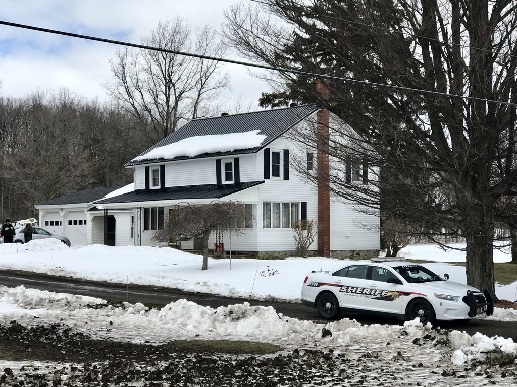 The home on Route 246 in Perry where authorities say retired sheriff's deputy Joe Mlyniec fatally shot Robert Irvine III in the driveway. (Robert Kirkham/Buffalo News)