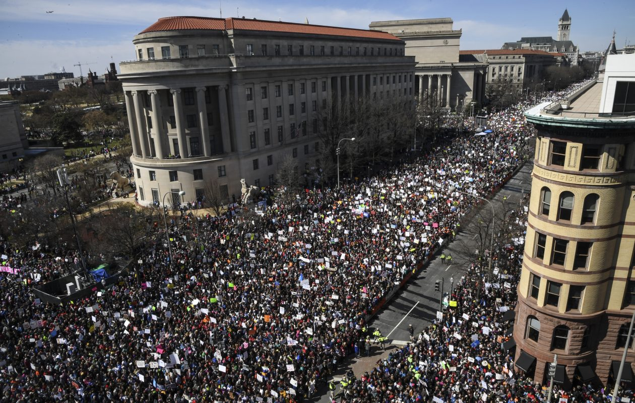 Thousands of marchers converge on Pennsylvania Avenue as seen from the sixth floor of the Newseum during the March for Our Lives on Saturday. (Washington Post photo by Toni L. Sandys)
