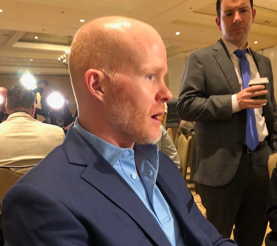 Sean McDermott at the NFL annual meetings in Orlando (Vic Carucci/Buffalo News)