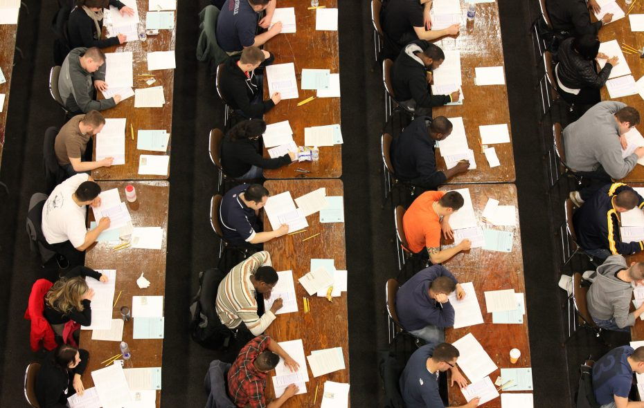 An overview of some of the more than 5,000 candidates who took the Buffalo Police exam at the Buffalo Niagara Convention Center in 2011. the year an order was lifted requiring that each new class of police officers include the percentage of blacks, Hispanics and women equal to the percentages of those groups who took the written exam. (Harry Scull Jr./Buffalo News file photo)