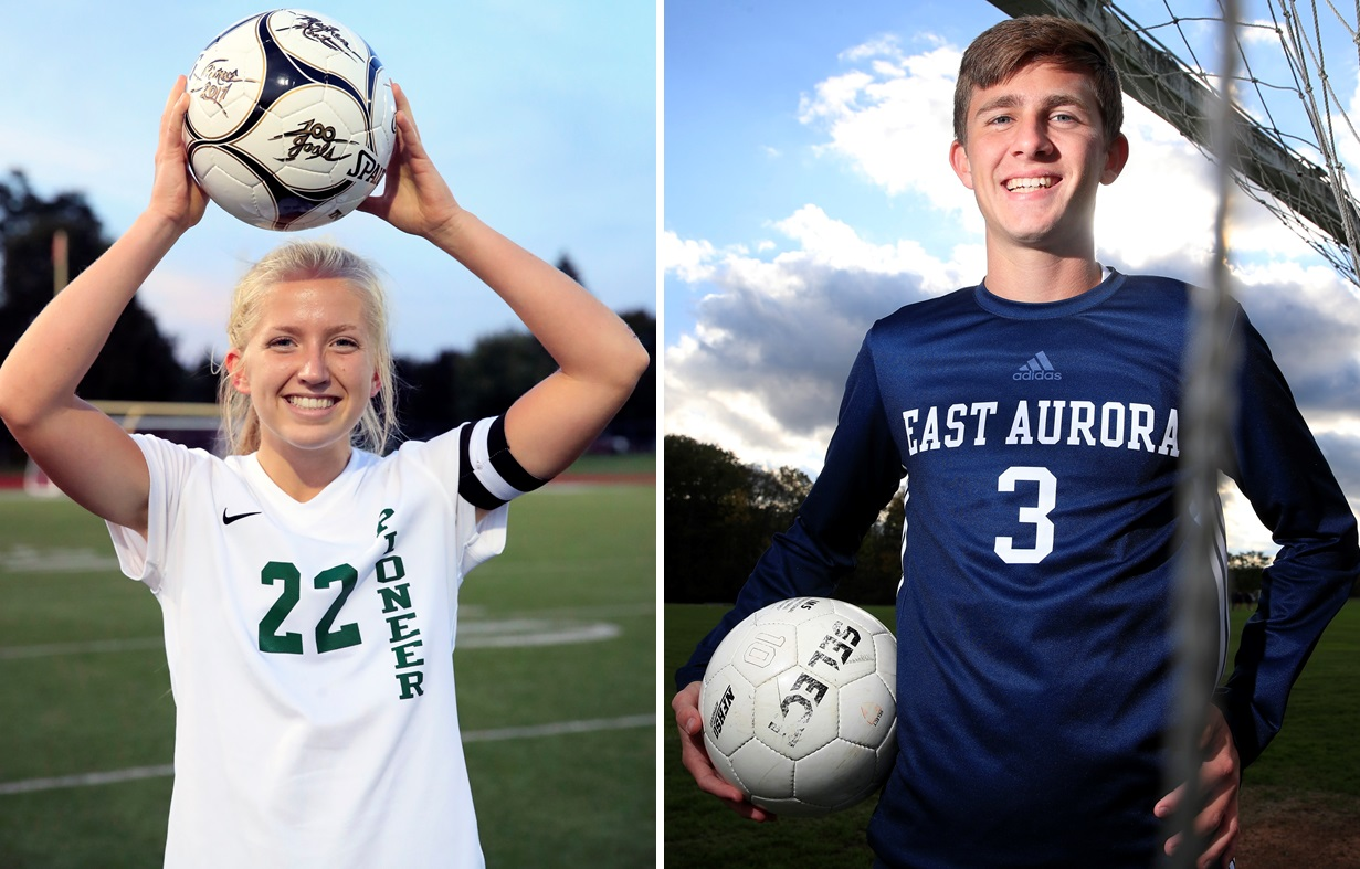 Pioneer's Meghan Root, left, will play at Syracuse, while East Aurora's Bryce Schiltz has committed to the University of Scranton.(Harry Scull Jr./The Buffalo News)