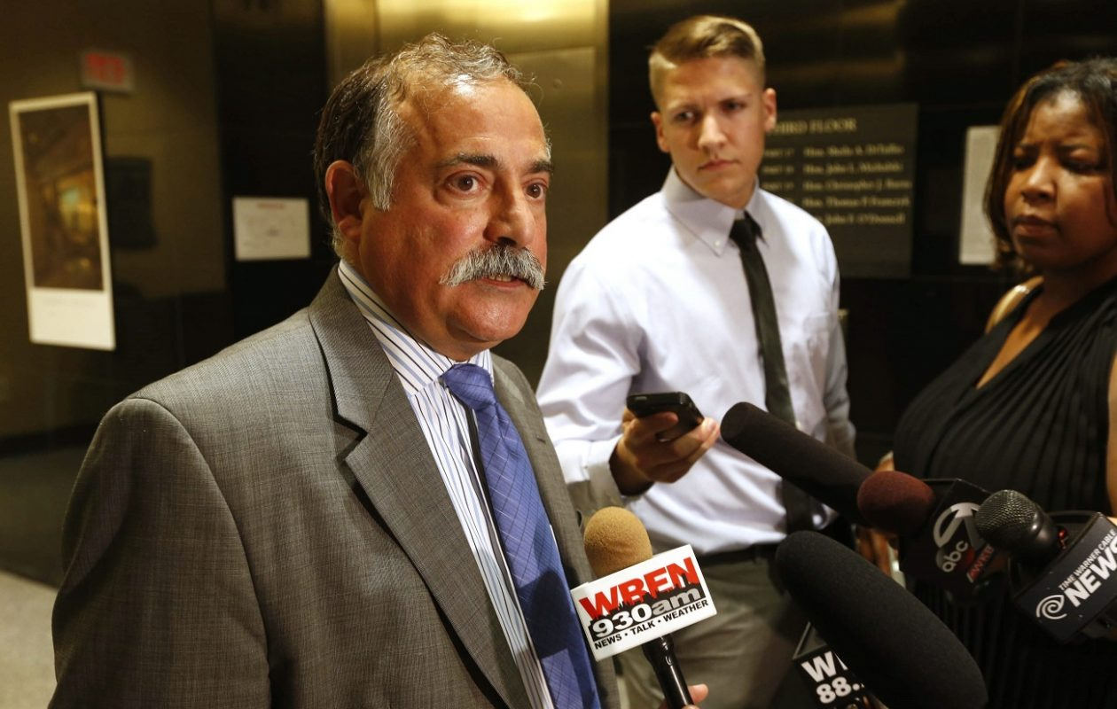 Criminal defense attorney Joseph J. Terranova speaks with reporters outside a courtroom in this 2014 file photo. (Robert Kirkham/News file photo)