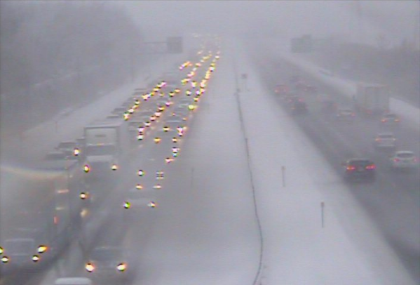 A traffic camera shows heavy congestion this morning on I-290 between Main St. and Sheridan Dr. at 7:44 a.m. (NITTEC)