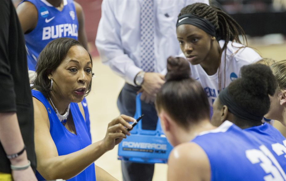 Buffalo coach Felisha Legette-Jack. (Mark Wallheiser/University at Buffalo)