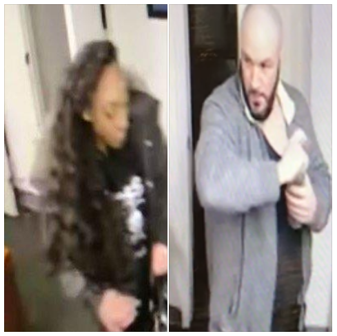 West Seneca police are asking the public's help in identifying and locating the woman pictured to the left in connection with a burglary investigation. Police said she is believed to be traveling with the man pictured on the right. (West Seneca Police Department)