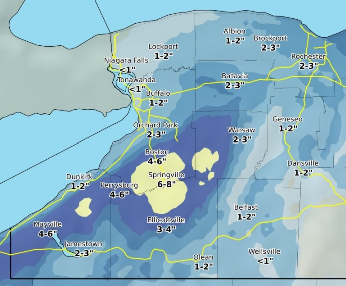 a forecast map shows what snowfall is expected between 10 am and tonight national weather service