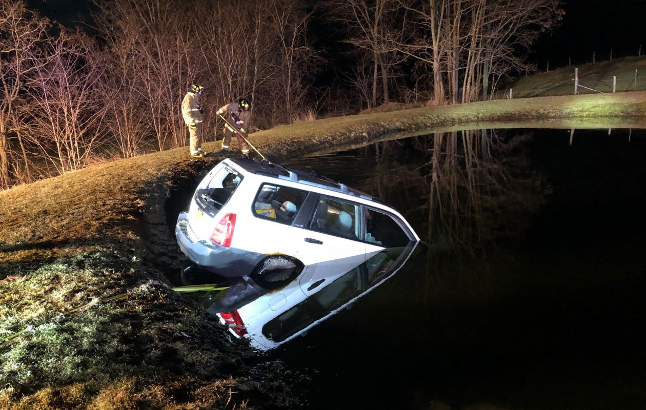 An 82-year-old Wyoming County man was rescued after his car fell into a pond Wednesday evening. (Provided by Wyoming County Sheriff's Office)
