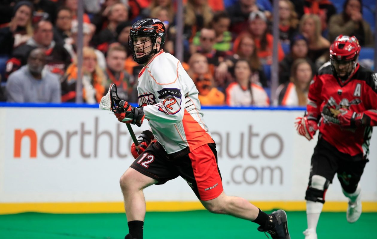 Buffalo Bandits Mitch de Snoo moves the ball against the Calgary Roughnecks during first half action at the KeyBank Center on Saturday, Jan. 6, 2018. (Harry Scull Jr./Buffalo News)