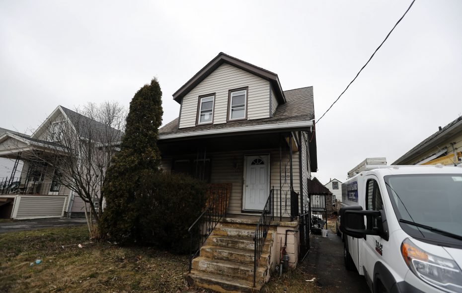The Buffalo Erie Niagara Land Improvement Corp is doing a complete rehab of a small, vacant house at 107 Longview Ave., between Northlandand East Delavan avenues.   (Mark Mulville/Buffalo News)