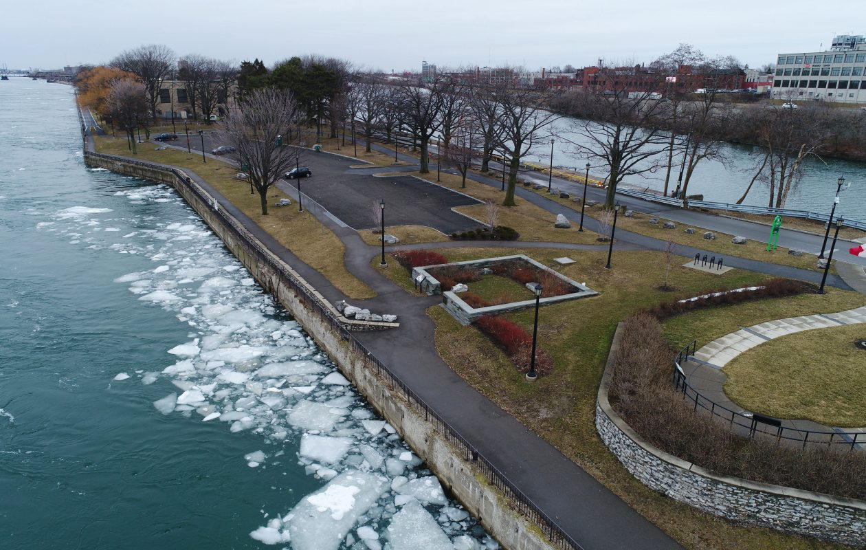 Broderick Park on the southern end of Unity Island with the Niagara River on the left, and the Black Rock Channel to the right.  (Derek Gee/Buffalo News)