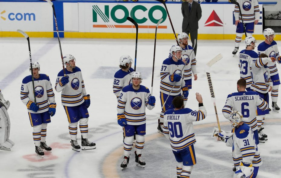 The Sabres waved goodbye to the fans after winning just 11 of their 40 games in Buffalo. (Harry Scull Jr./Buffalo News)