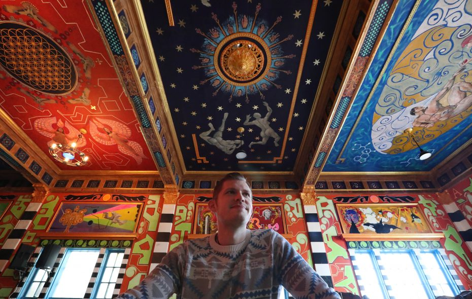 Jeremy Twiss, an untrained artist and former cook in Sweetness7 Cafe, created a sprawling series of murals inside the soon-to-open Tabernacle on Grant Street. (Sharon Cantillon/Buffalo News)