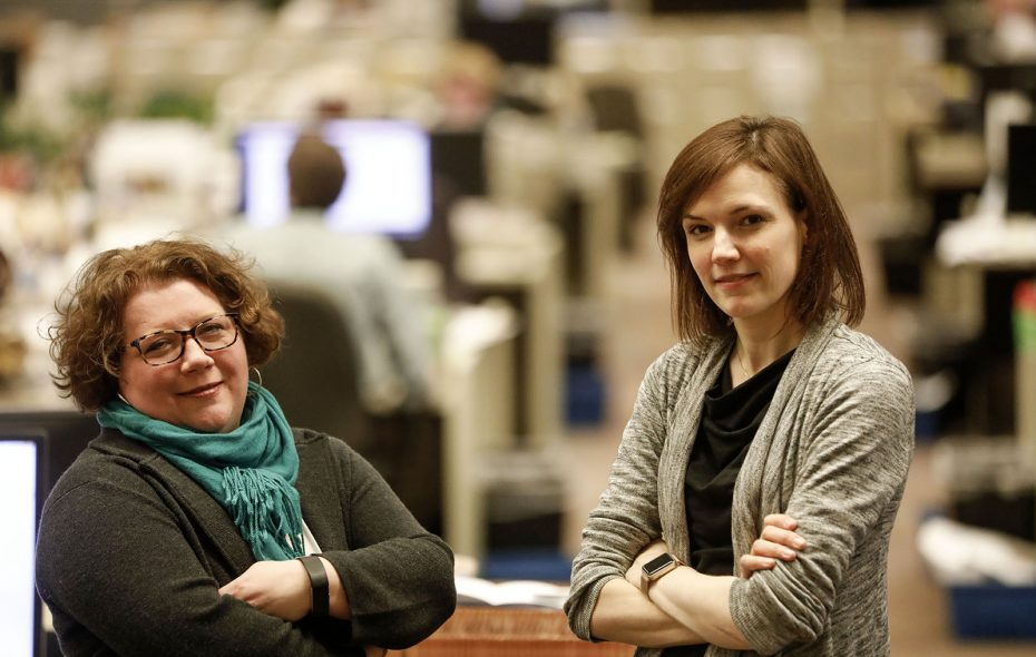 Deputy Managing Editor Margaret Kenny Giancola, left, and Assistant Managing Editor Denise Jewell Gee. (Derek Gee/Buffalo News)