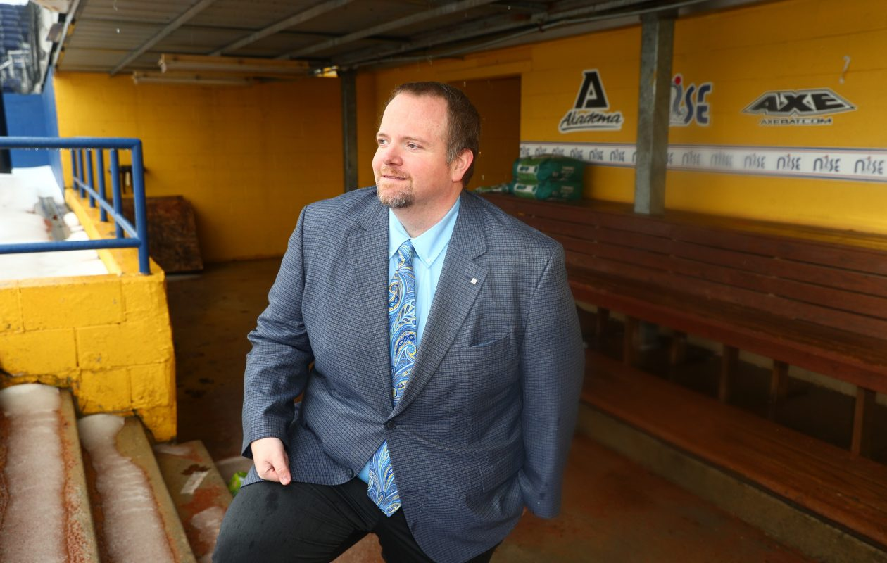 Dr. Patrick Tutka, Niagara Power's president and director of operations, at Sal Maglie Stadium in Niagara Falls. (John Hickey/Buffalo News)
