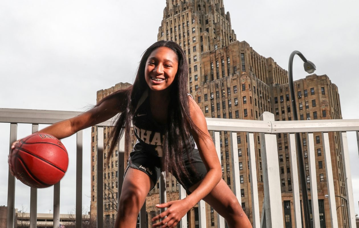 All-WNY team basketball portrait of Angel Parker of Cardinal O'Hara is the Sister Maria Pares Buffalo News Player of the Year. (James P. McCoy/Buffalo News)
