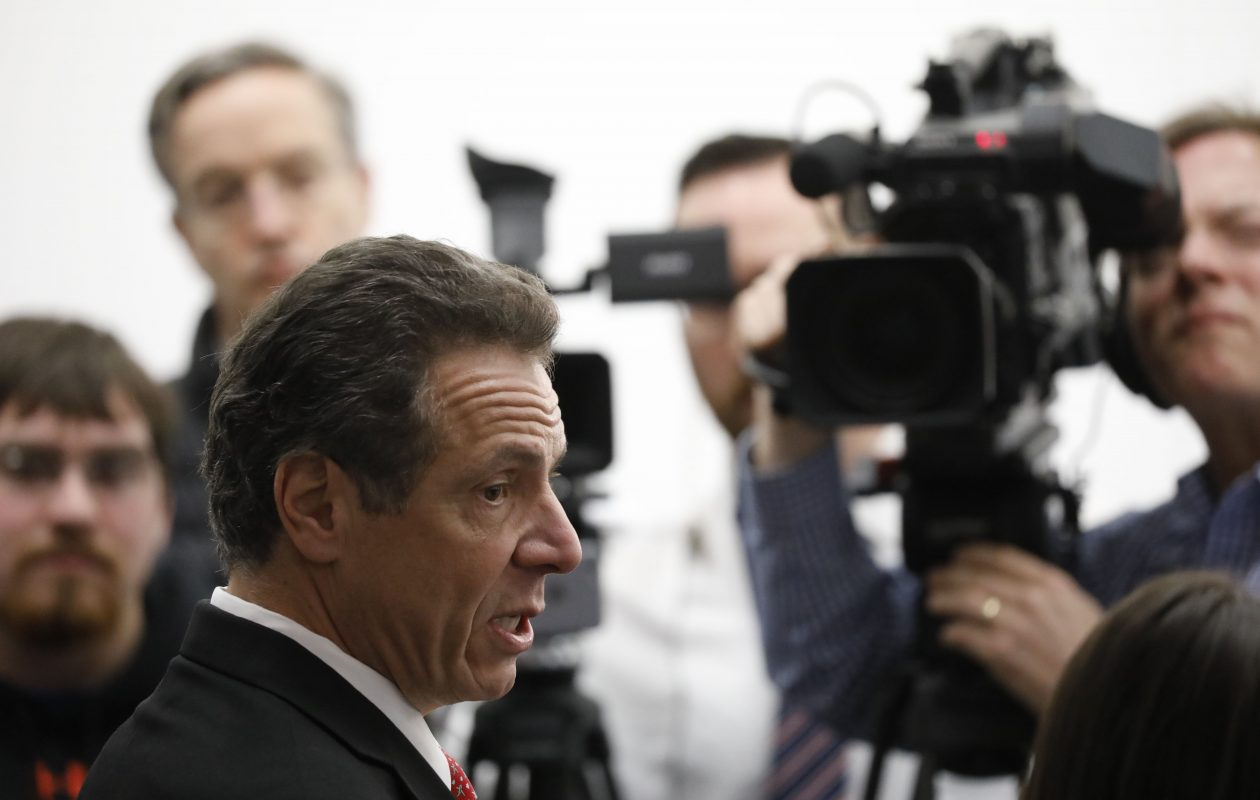 Gov. Andrew Cuomo takes questions from the media following an event at the UB Jacobs School of Medicine and Biomedical Sciences in Buffalo, Thursday, April 19, 2018.  (Derek Gee/Buffalo News)