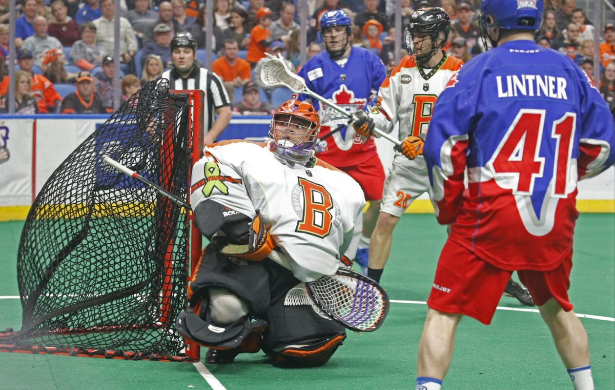 Buffalo goalie Alex Buque misses one as the ball sneaks in behind him against the Toronto Rock last week. (Robert Kirkham/Buffalo News)