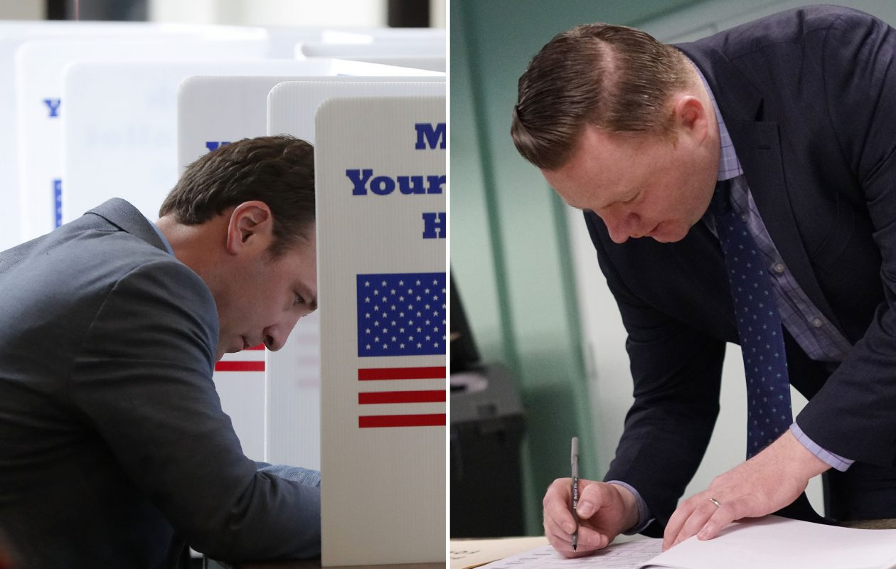 Candidates Erik Bohen, left, and Patrick Burke vote earlier this year in the special election for the 142nd Assembly District.  (Mark Mulville/Buffalo News)