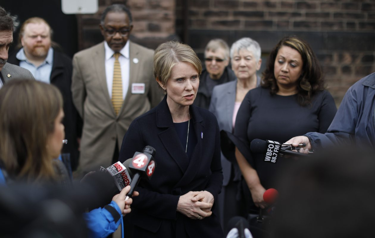Gubernatorial candidate Cynthia Nixon speaks to members of the media outside the Lower 9th Ward at Babeville after participating in an economic roundtable, Wednesday, April 25, 2018. (Derek Gee/Buffalo News)