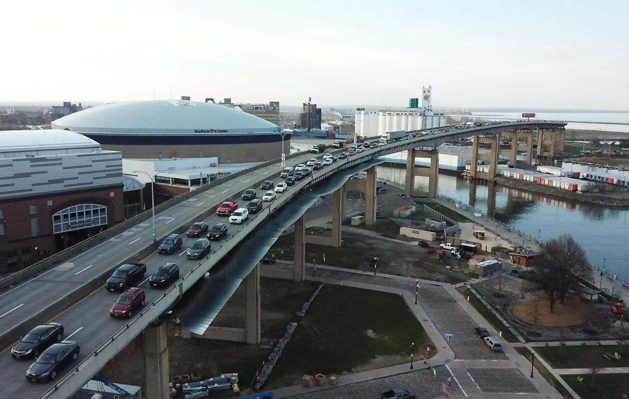 Traffic was heavy on the inbound Skyway Tuesday, May 1, 2018 on the second day of a two-year construction project on Route 5. (John Hickey/Buffalo News)