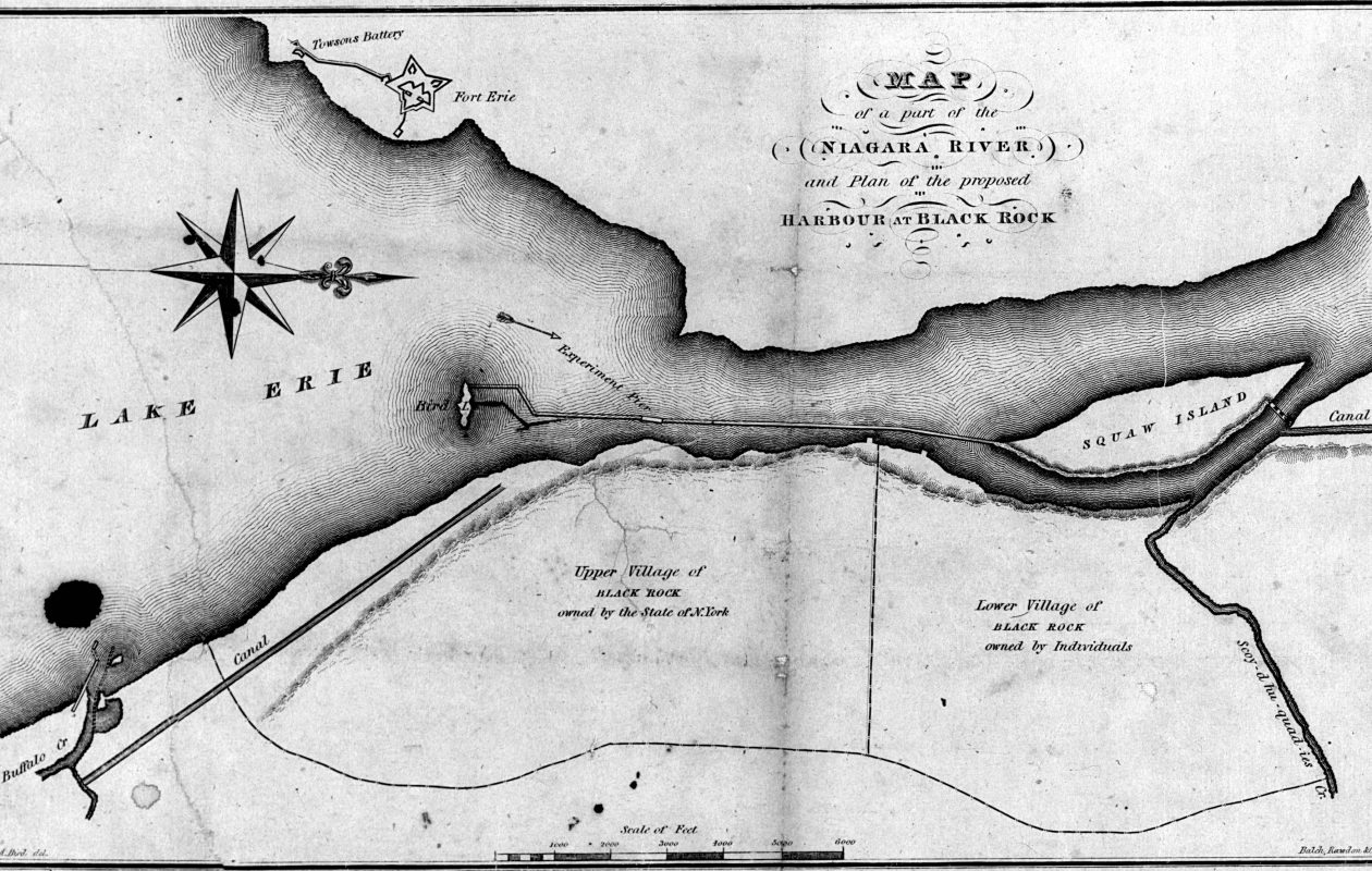 An 1829 map showing the upper and lower villages of Black Rock, as well as what was then called Squaw Island. (Wikimedia Commons)