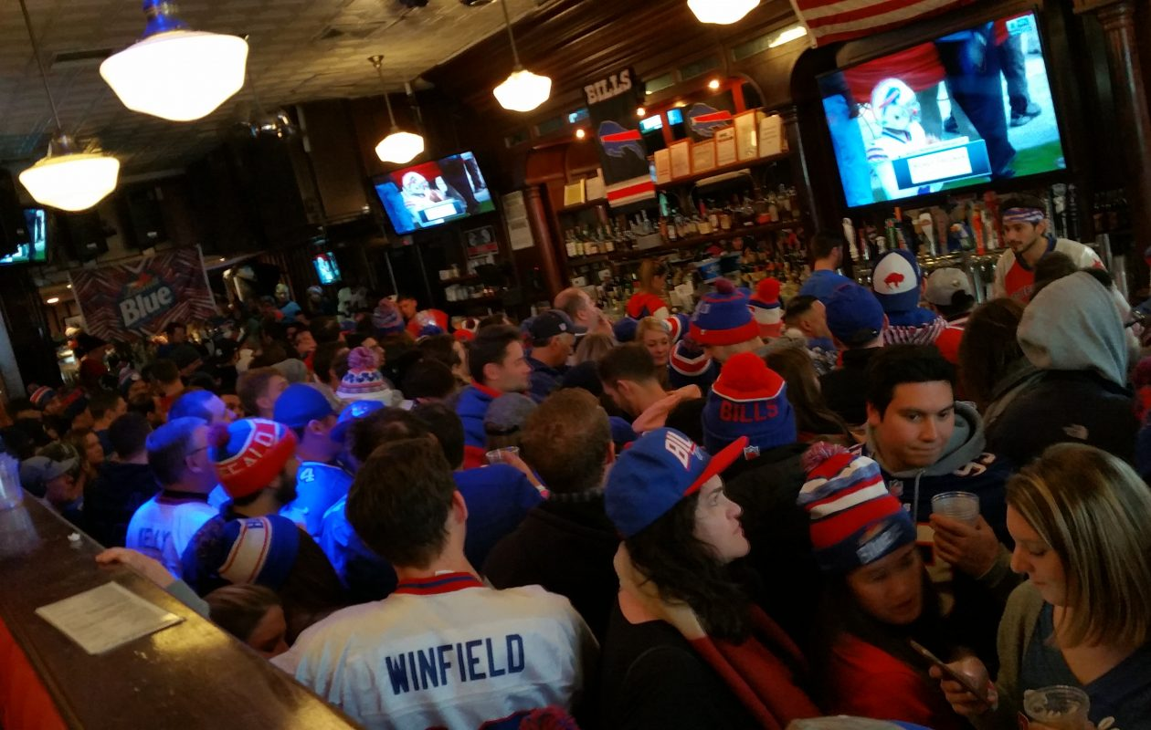The New York City Buffalo Bills Backers fill McFadden's Saloon to capacity on game days and draft day. (Photo courtesy of Matt Kabel/NYCBBB)