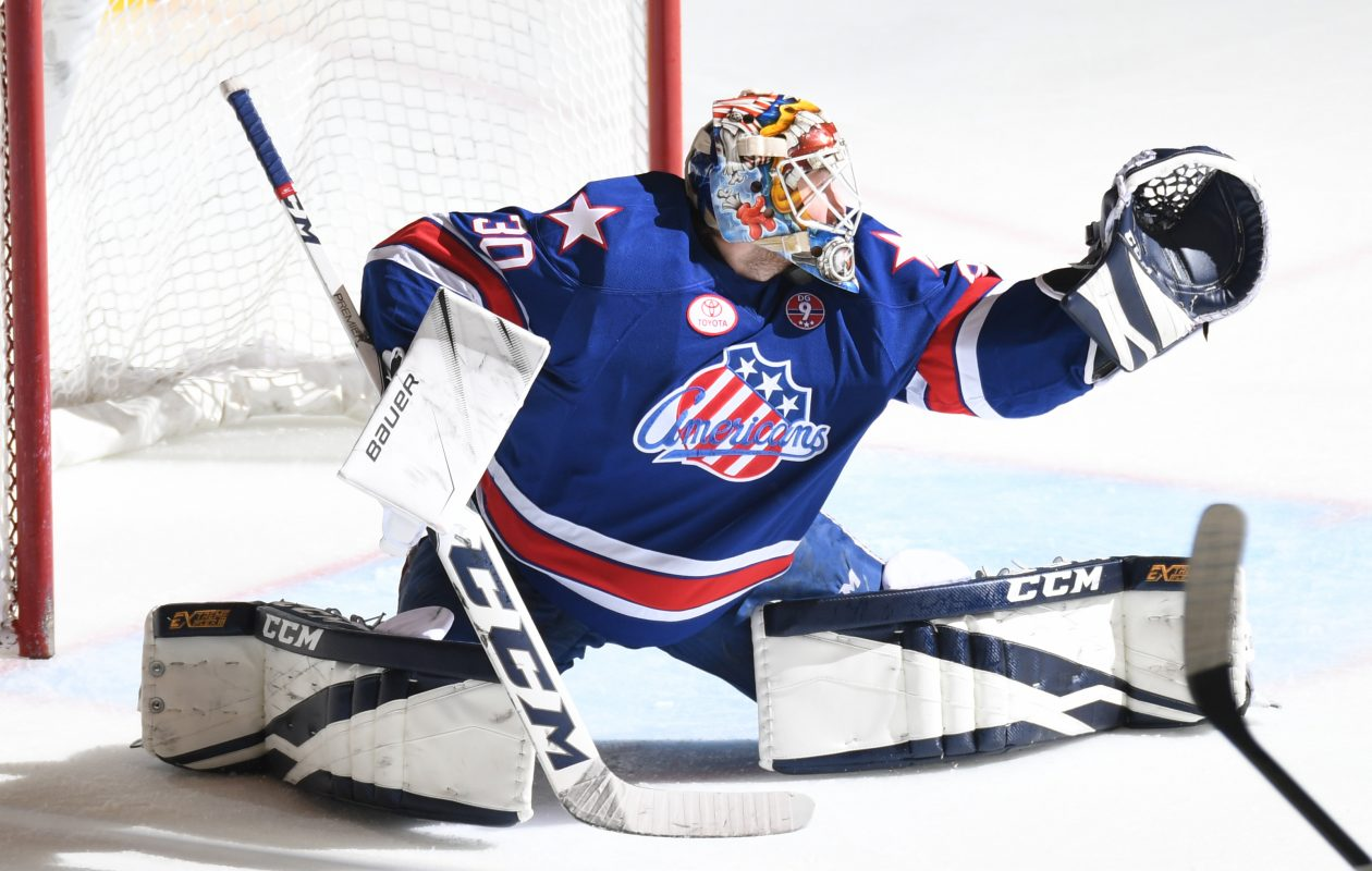Rochester goaltender Linus Ullmark allowed five goals on 25 shots Wednesday. (Micheline Veluvolu/Rochester Americans)