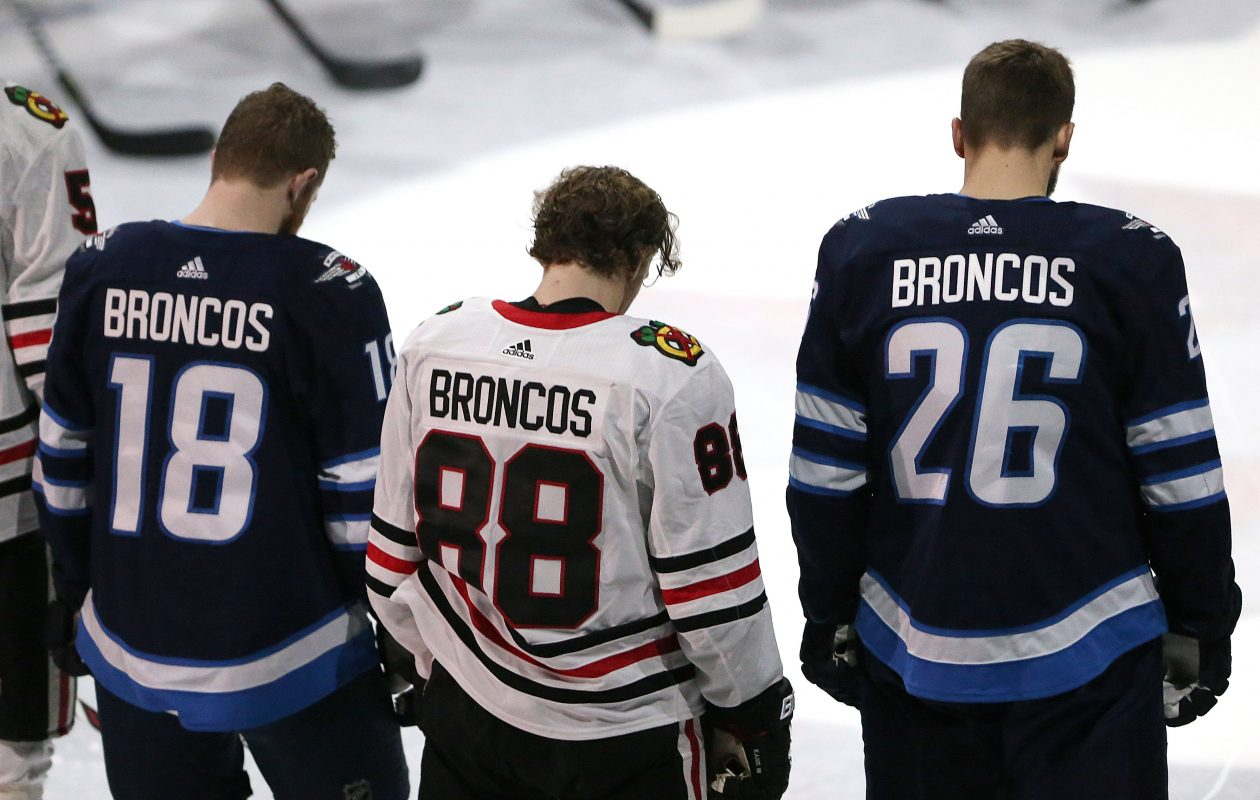Bryan Little  18 and Blake Wheeler  26 of the Winnipeg Jets and Patrick Kane 249298d4b