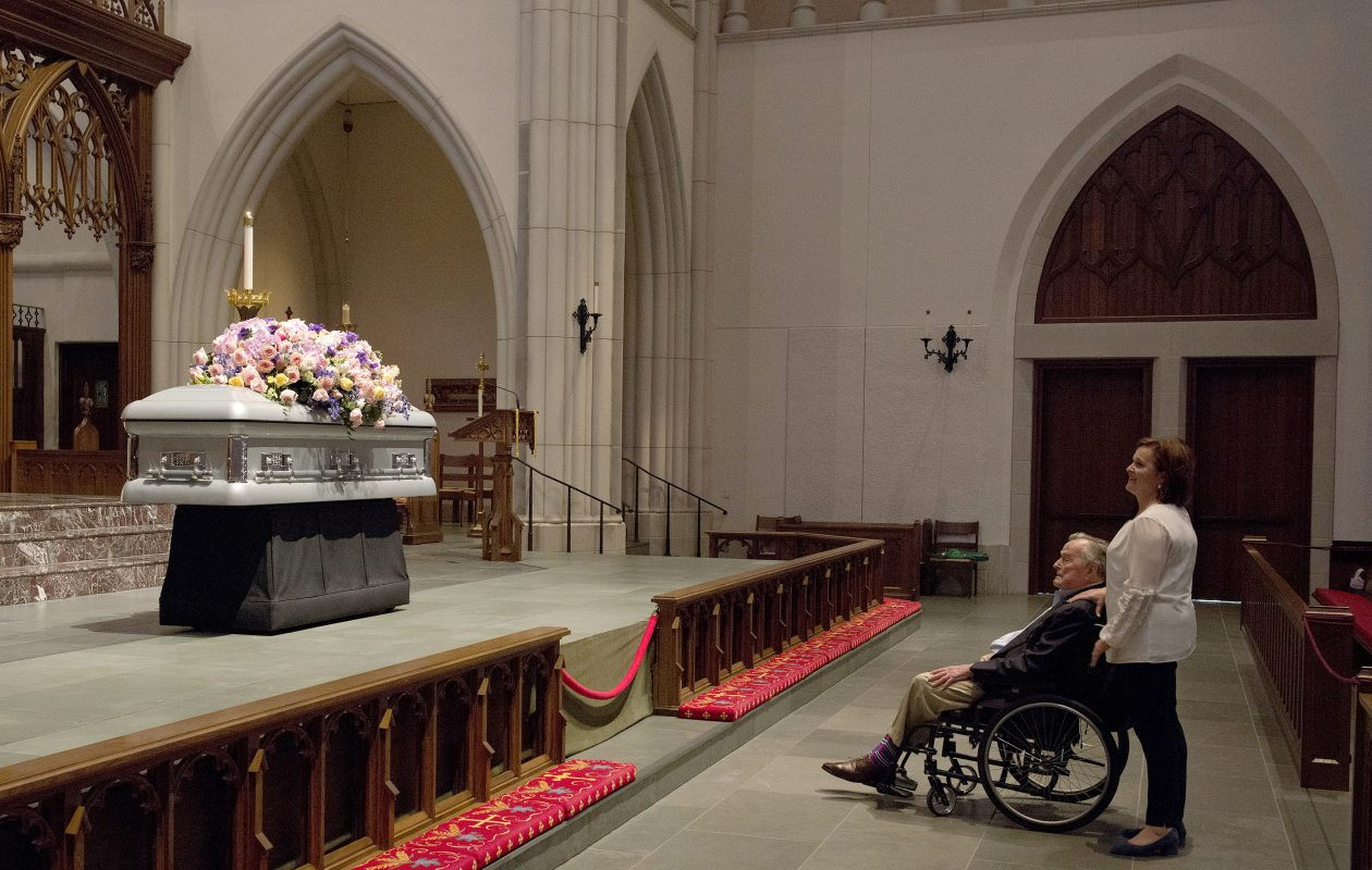 Former President George H. W. Bush and daughter Dorothy Bush Koch wait for the mourners during the visitation hours for former first lady Barbara Bush at St. Martin's Episcopal Church Friday in Houston, Texas. (Photo by Mark Burns - Pool/Office of George H.W. Bush via Getty Images)
