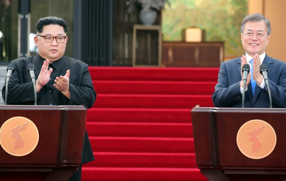 North Korean leader Kim Jong Un, left, and South Korean President Moon Jae-in applaudafter announcing the Panmunjom Declaration for Peace, Prosperity and Unification of the Korean Peninsula during the Inter-Korean Summit in front of the Peace House on April 27, 2018 in Panmunjom, South Korea.   (Photo by Korea Summit Press Pool/Getty Images)