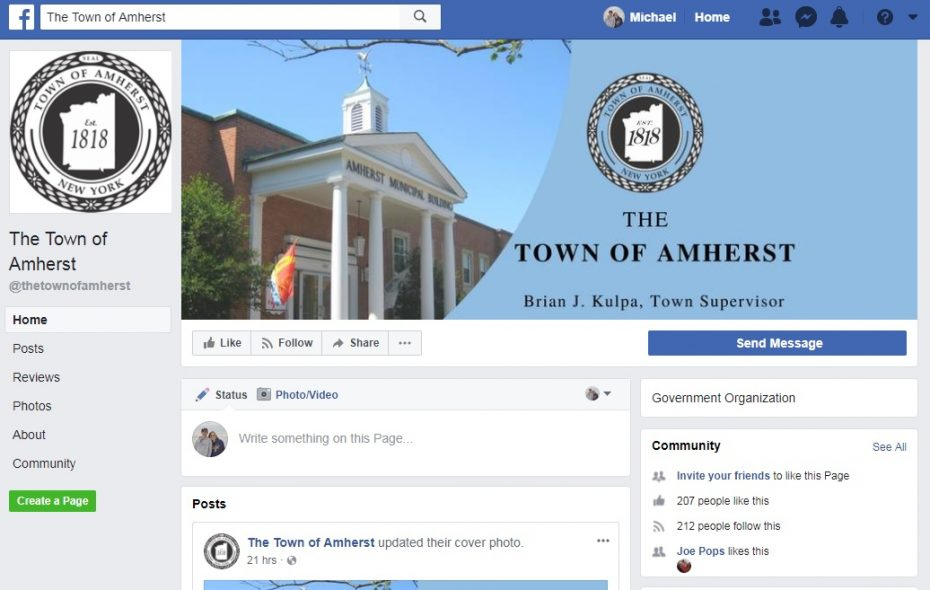 A screenshot of the new Town of Amherst page on Facebook.
