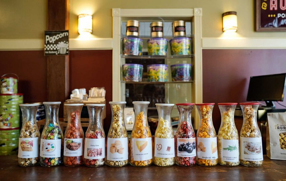 Sample the Aurora Popcorn Shop flavors at its tasting bar. (Dave Jarosw)
