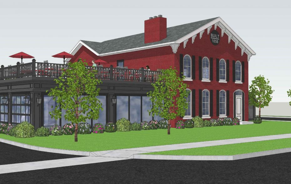 preliminary rendering of plans to update the Old Red Mill Inn into the Bar-Bill Northtowns in Clarence