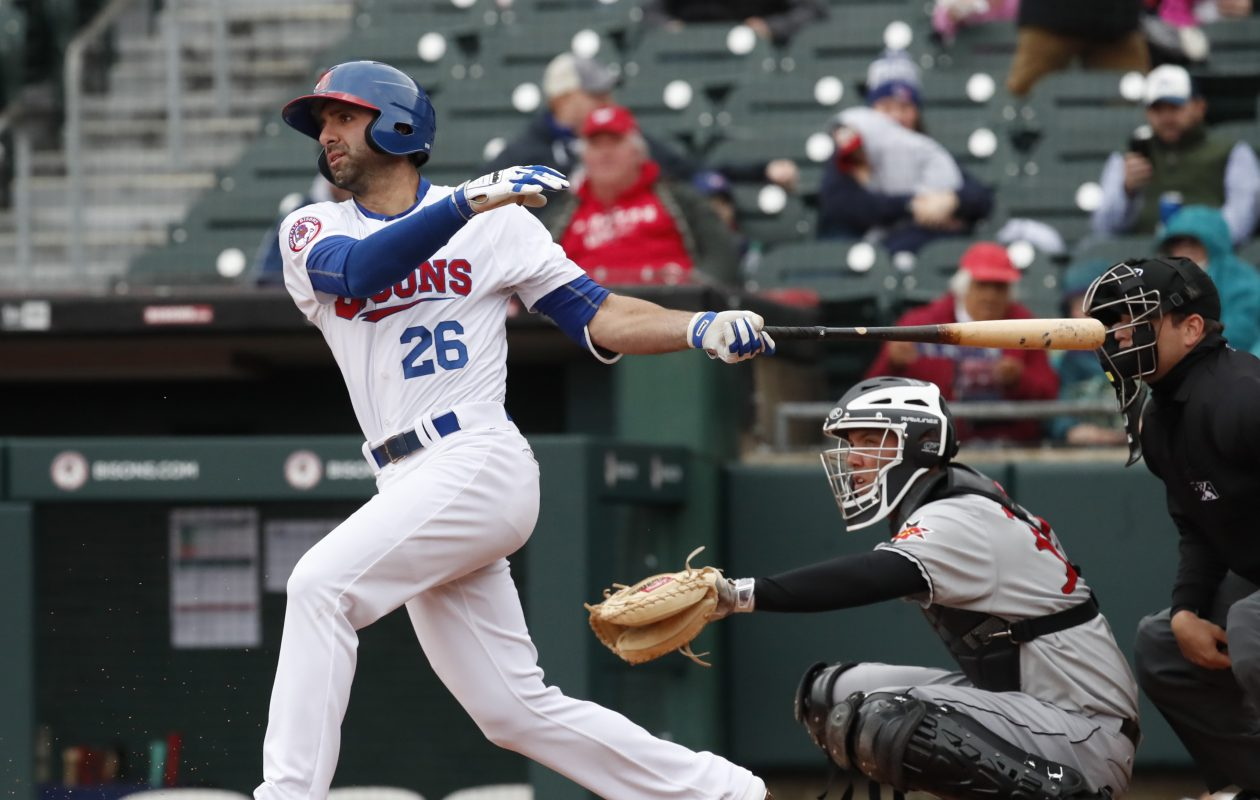 Buffalo Bisons Jason Leblebijian bats in the second inning against the Indianapolis Indians at Coca-Cola field on Thursday, April 12, 2018. (Harry Scull Jr./ Buffalo News)