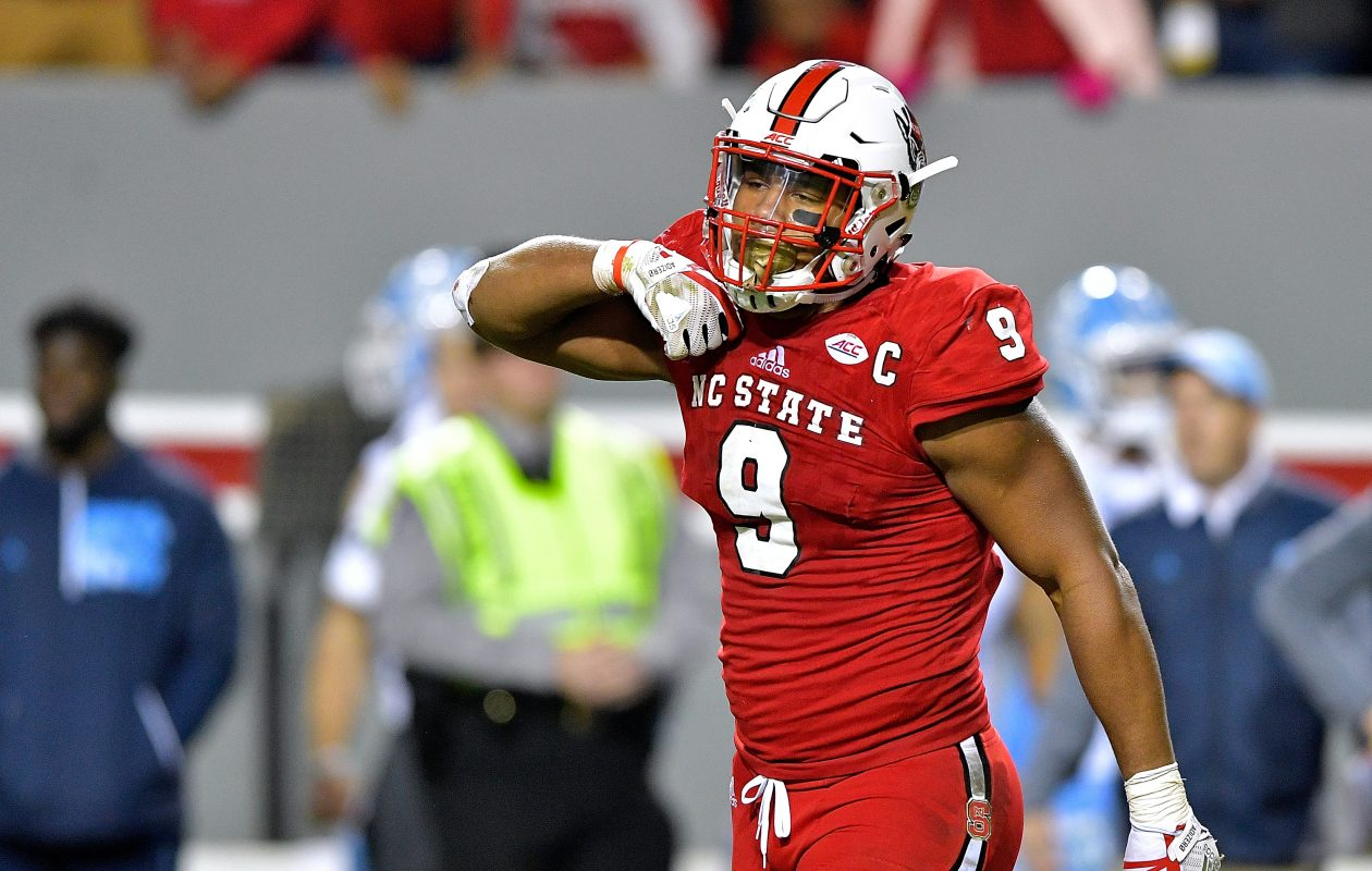 Bradley Chubb of North Carolina State has the size – along with considerable athleticism, strength and nonstop effort – to continue to dominate in the NFL as he did in college. (Getty Images)