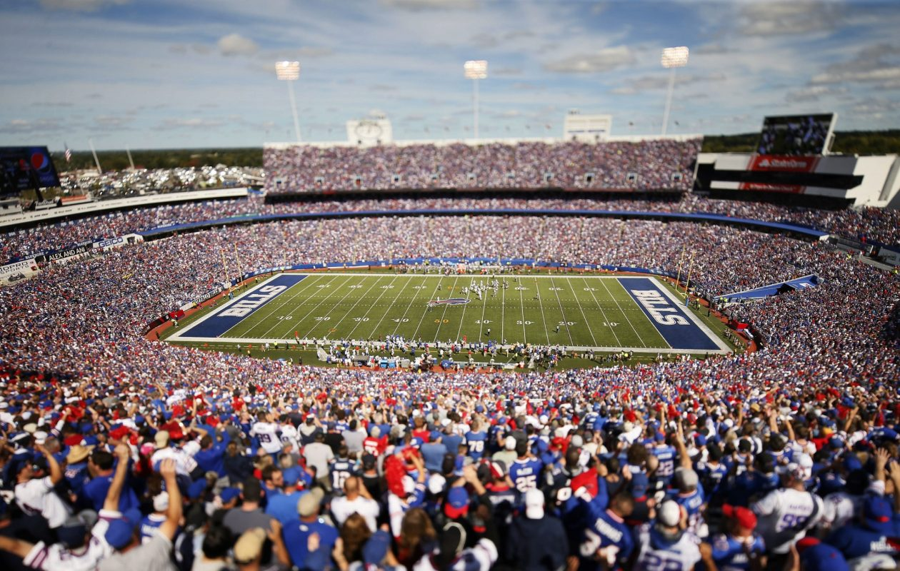 Most fans who visit New Era Field have to pay for the privilege, and never get on the field. Those who sign up for the latest Independent Health and Buffalo Bills Health  & Wellness Challenge will get to work out on the field the next several Monday nights - for free.  (Derek Gee/News file photo)