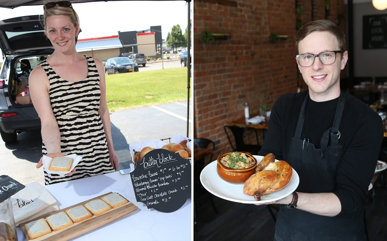 Butter Block owner Colleen Stillwell, left, and Marble + Rye co-owner Michael Dimmer, right, are two of the people responsible for starting a new brunch series. (Sharon Cantillon/Buffalo News)