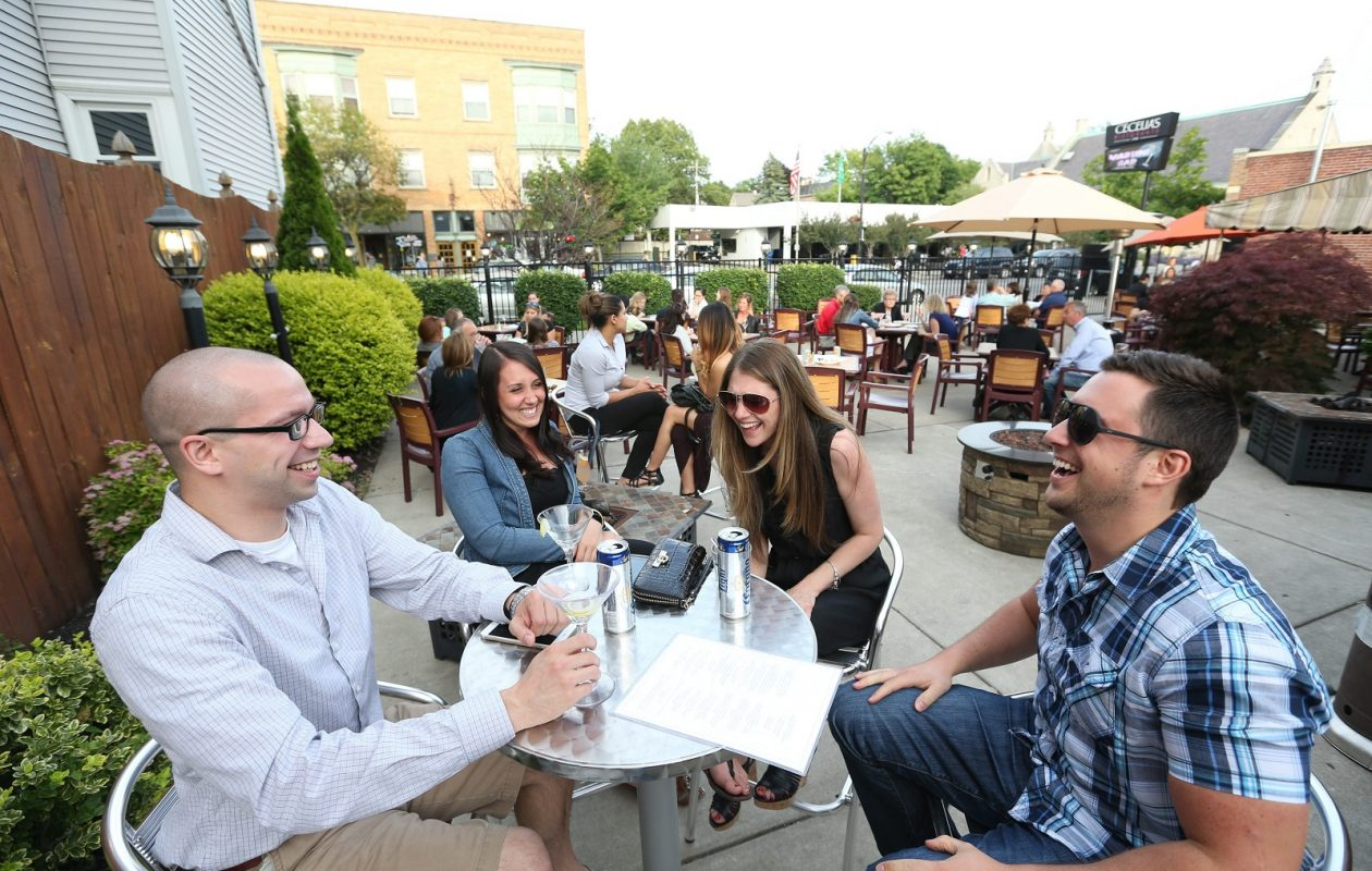 Enjoying the patio at Cecelia's Ristorante in 2015 is Randall Snodgrass, Kari Ann Boniface, Dorene Major and Eric Simm.   (Sharon Cantillon/Buffalo News)
