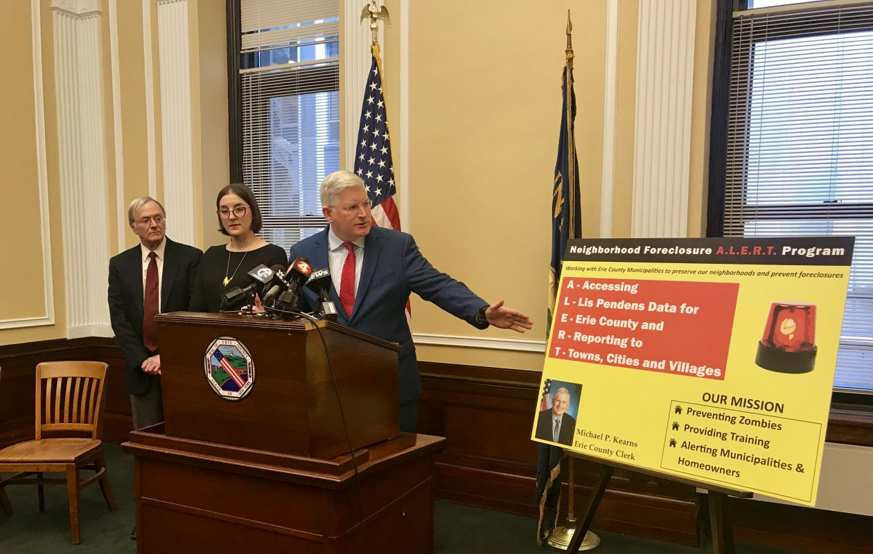 Erie County Clerk Michael P. Kearns announces a partnership with the Western New York Law Center and Columbia University to expand the county's foreclosure ALERT program with help from Columbia University. (Photo provided by the Erie County Clerk's Office)